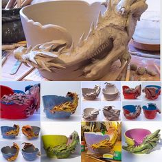 Some recent dragon work. Decorative art bowls and yarn bowls. Made to order at earthwoolfire.etsy.com