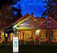Laser Garden Light has 8 red & green laser light projector patterns in 1, with variable speed and remote control.