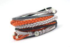 Mens wrap Bracelet Orange Gray Boho Bracelet by cardioceras