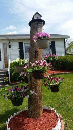 Amazing DIY flower arrangements for an unbelievable yard or garden - Gartenkunst House Tree Plants, Trees To Plant, Natural Landscaping, Backyard Landscaping, Landscaping Ideas, Amazing Gardens, Beautiful Gardens, Tree Stump Planter, Tree Stump Decor
