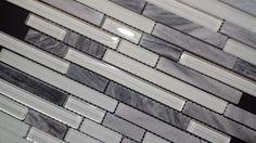 Gris Romano stone with white polished & Matt Glass tile Kitchen Backsplash (Z28)