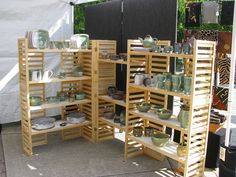 portable wood shelving for craft booths - Amazingly DIY Market Stall Display, Soap Display, Market Displays, Market Stalls, Craft Show Booths, Craft Booth Displays, Craft Show Ideas, Display Ideas, Art And Craft Shows