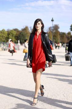 Jacquelyn Jablonski (Supreme, NY)exiting the Chloe show today at Paris Fashion Week.