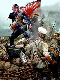 From another pin: A cool artist depiction showing a Japanese soldier firing on a Russian in the Russo-Japanese war Military Art, Military History, Desu Desu, Military Drawings, Asian History, World War One, Modern Warfare, Dieselpunk, Wwii
