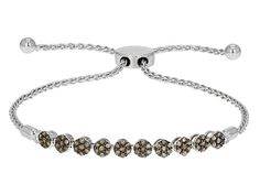 .50ctw Round Champagne Diamond Rhodium Over Sterling Silver Adjustable Bracelet