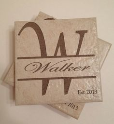 Last name and Initial Established Ceramic Stone Coasters, Laser Engraved, Customized, Personalized, Anniversary, Wedding, Engagement