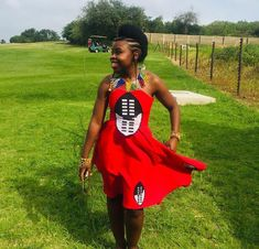 Sasa In Beautiful Red Swati Lihiya Flared Dress and Beaded Accessories Traditional Wedding Attire, Traditional Outfits, African Fashion Dresses, African Outfits, African Clothes, Red Tulle Skirt, Wedding Dress With Feathers, Lace Camisole Top, Beaded Cape