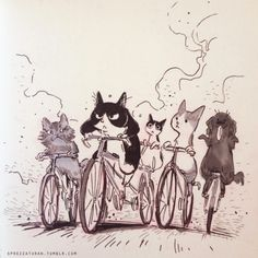 Ciclavia doodle, starring friends' pets 🐶🐱 Part of this was doodled with awesome pens that sent me last year.also there are still a couple days left in their contest so check it out! Cute Illustration, Character Illustration, Cat Character, Character Design, Desenho Tattoo, Art Story, Bicycle Art, Art Graphique, Cat Drawing