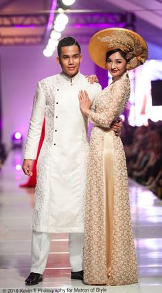 Wedding ao dai and wedding ao gam by Jacky Tai at Viet Fashion Week 2016 | Kevin T Photography for Matron of Style