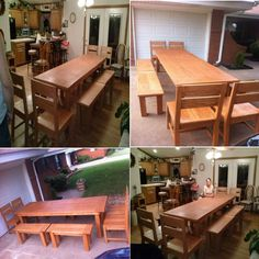 The is a custom 10 foot solid oak dining table with four benches and four chairs. This was custom made by Southern Comfort Furniture in Oklahoma City. Solid Oak Dining Table, Southern Comfort, Oklahoma City, Benches, Chairs, Kitchen, Furniture, Home Decor, Style