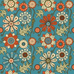Colorful Floral Seamless Pattern In Cartoon Style. Seamless Pattern.. Royalty Free Cliparts, Vectors, And Stock Illustration. Pic 21241204.