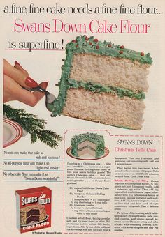 """Christmas Belle Cake recipe from Swans Down cake flour. """"No mix can make this cake"""". Good Housekeeping, December 1952"""