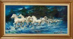 Caballos blancos cruzando el rio de Alfredo Palmero