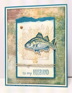 *Background is from the Fan Fare DSP and is sponged. Posted 5-19-13 (add'l photos & info on webite) Stamp Sets: By the Tide, Family Reunion Card Stock: Very Vanilla, Island Indigo Designer Series Paper: Fan Fair Ink Pads: Island Indigo, More Mustard, Crumb Cake Accessories: Regals Brads, Linen Thread