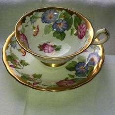 ROYAL CHELSEA Blue & Pink MORNING GLORY GOLD TEA CUP & SAUCER. I dream… Chelsea Blue, Rose Tea, Tea Roses, Vintage China, Vintage Teacups, China Tea Cups, Teapots And Cups, Tea Art, Tea Service