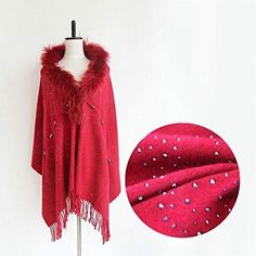 New Utini Special Design Luxurious Cashmere Chic Wool Poncho Coat Women Ladies Female Shawl Wraps Pashmina Hot Drilling Process - (Color: Bordeaux red) online shopping - Fortrendytoprated Alpaca Poncho, Grey Poncho, Poncho Coat, Knitted Capelet, Poncho Knitting Patterns, Scarf Sale, Ladies Poncho, Capes For Women, Knit Fashion