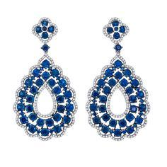 Art Nouveau sapphire and diamond earrings.   292 diamonds weighing .94 cts. and 94 sapphires weighing 8.51 cts.