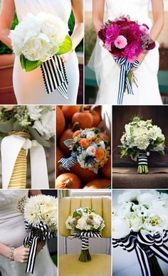 "Love the ""preppy"" look of striped ribbon included in a bouquet."