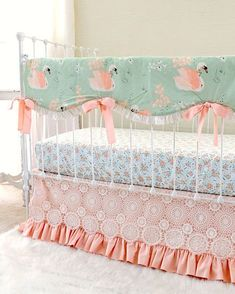 Swan Crib Bedding, Baby Girl Crib Set in Peach and Sage Green, Swan Crib Rail Cover, Peach Crib Skirt Baby Crib Sets, Nursery Bedding Sets Girl, Bedding Master Bedroom, Peach Nursery, Babies Nursery, Baby Bedroom, Crib Bedding For Girls, Girl Cribs, Baby Cribs