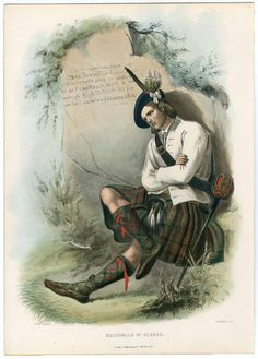 Clans of the Scottish Highlands 1847 Plates 1-54, Plate 021. 1847. Metropolitan Museum of Art (New York, N.Y.). Thomas J. Watson Library.  Fashion plates, 1700-1955 Costume Institute Fashion Plates. #catalog #bookcovers | A member of Clan MacDonald of Glenco in repose, if only just for a moment.