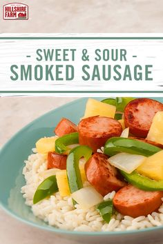 Try this Asian-inspired Hillshire Farm® Smoked Sausage recipe tonight with sweet chunks of pineapple, peppers and delicious sweet and sour sauce.