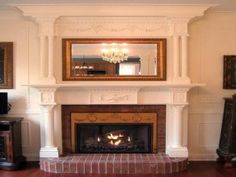 Interior Decorating: for an antique look replace the brick on a boring fireplace with an intricate mantel. Bronze accents complete the traditional look. Red Brick Fireplaces, Cottage Fireplace, Fireplace Seating, Brick Fireplace Makeover, Fireplace Built Ins, Victorian Fireplace, Concrete Fireplace, White Fireplace, Farmhouse Fireplace