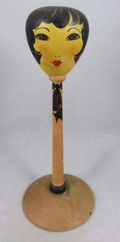 Vintage-Toppy-Products-Wood-Hat-Stand-Lady-Boudoir-Doll-Head-Art-Deco