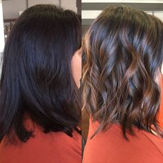 Before and After. #BALAYAGE!! Beautiful cinnamon highlights for a brunette