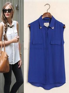 Turn Down Collar Sleeveless Single Breast Oversize Blouse on buytrends.com