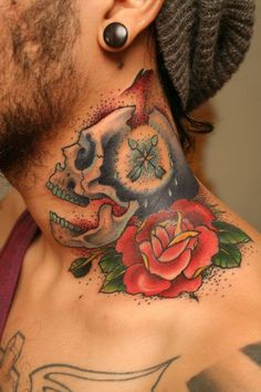 Love and Death skull rose neck tattoo by Nathan Kostechko