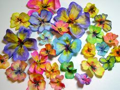 Rice paper flowers cut into flower shapes, painted with water colors, then pinched and prodded to look life like. Wafer Paper Flowers, Paper Flower Art, Paper Flower Tutorial, Flower Crafts, Paper Art, Paper Crafts, Paper Toys, Faux Flowers, Diy Flowers