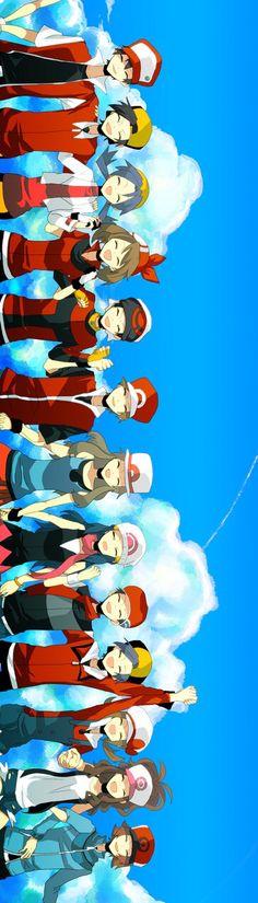 Pokémon Trainers Red, Gold, Crystal, Ruby, Sapphire, Platinum, Diamond, Leaf, Fire, Black, White and Lyra.