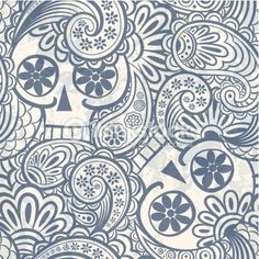 Vector Art: seamless pattern with skulls and paisley