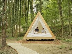 Prefab A-frame wooden cabins are made for eco-friendly glamping
