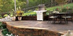 patio with retaining wall - Google Search