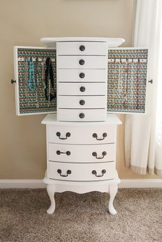 AMAZING jewelry armoire makeover! I have a similar one with matching vanity. Inspiration <3