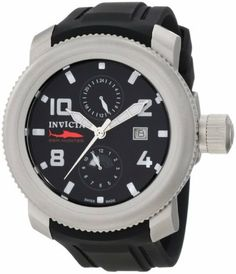 Invicta Men's 1983 Russian Diver Sea Hunter Black Dial Black Polyurethane Watch Invicta. $133.00. 12 hour and 24 hour subdials; date function. Water-resistant to 100 M (330 feet). Flame-fusion crystal; brushed stainless steel case; black polyurethane strap. Swiss quartz movement. Black dial with silver tone hands, white hour markers and arabic numerals; luminous