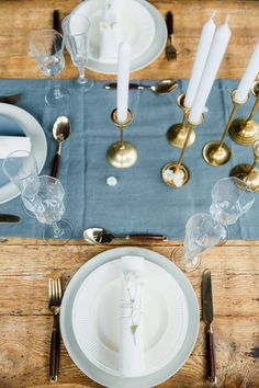 Engaged Part II: A Simple, Elegant Table // Styling by Avenue Lifestyle // Photography by Anouschka Rokebrand // Flatware, glassware and dinnerware by Helene Millot Furnishings // Table runner by Dille & Kamille