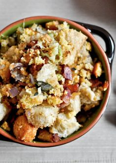 Double Bread Stuffing with Brown Butter, Bacon & Sage. | howsweeteats.com