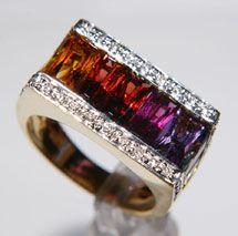 Bellarri 18K Romantica Collection Multi Gemstone & Diamond Ring