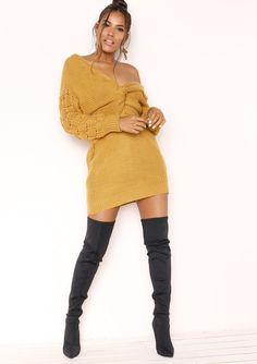 b56dfb9f5b Missyempire - April Mustard Knit Knot Detail Jumper Dress Jumper Dress
