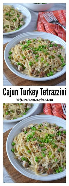 {ad} Cajun Turkey Tetrazzini - Transform those Thanksgiving leftovers into a hearty pasta recipe with a little creole flare! Make this favorite family recipe, Cajun Turkey and Sausage Tetrazzini! #thanksgiving #dinner #recipes