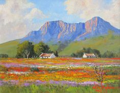 Willie Strydom - Namaqualand x Canvas Painting Projects, Oil Painting On Canvas, Painting Art, Art Projects, Nature Paintings, Cool Paintings, Art Nature, Landscape Art, Landscape Paintings