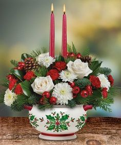 Holly Day's Red Centerpiece by Marco Island Florist #Naples #Christmas