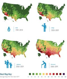 These maps show how many brutally hot days you will suffer when you're old - Vivid Maps Urban Heat Island, Heat Map, Risky Business, Climate Change Effects, Extreme Weather, Extreme Heat, Greenhouse Gases, Hot Days, Cartography
