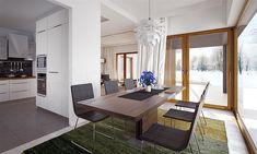 Projekt domu Artus 136,81 m2 - koszt budowy - EXTRADOM Modern Small House Design, Modern Interior Design, Home Fashion, Bungalow, House Plans, Dining Table, Living Room, House Styles, Furniture