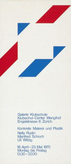 Konkrete Malerei und Plastik - Nelly Rudin - Manfred Schoch - Uli Witzig - Galerie Klubschule - Klubschul-Center Wengihof - Zürich-Plakat