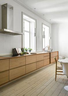 Kitchen Room Design, Home Decor Kitchen, Interior Design Kitchen, New Kitchen, Home Kitchens, Scandinavian Kitchen, Wooden Kitchen, Minimalist Kitchen, Cuisines Design