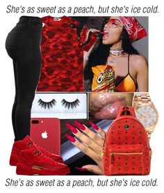 A beauty collage from December 2017 featuring Huda Beauty, bezel jewelry and red bag. Browse and shop related looks. Swag Outfits For Girls, Cute Swag Outfits, Teenage Girl Outfits, Cute Comfy Outfits, Teen Fashion Outfits, Teenager Outfits, Dope Outfits, Freshman Outfits, Mode Swag