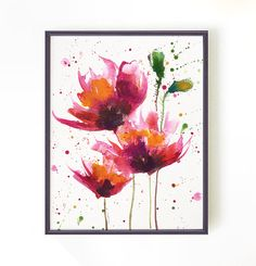Watercolor painting Red poppies #1. Floral art, Botanical art, Apartment decor, Wall Decor, Asian home decor, Pink 8x10 Buy 2 Get 1 FREE